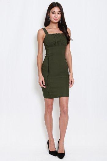Side Panel Ruch Midi Dress (Olive)
