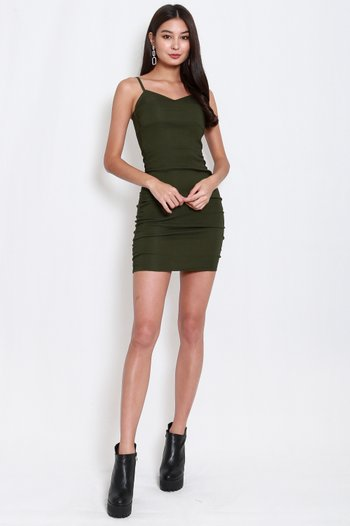 Sweetheart Ruch Bodycon Dress (Olive)