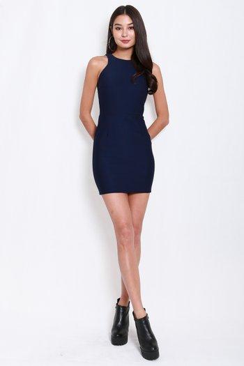 *Premium* Basic Cut In Dress (Navy)