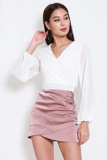 Kara Textured V Wrap Top (White)