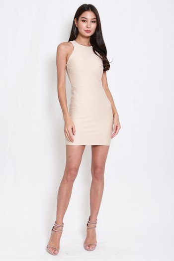 *Premium* Basic Cut In Dress (Ivory)