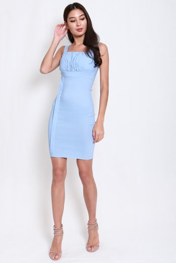Side Panel Ruch Midi Dress (Baby Blue)