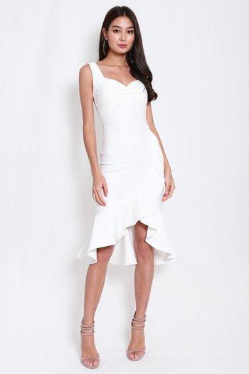 *Premium* Sweetheart Ruffle Mermaid Midi Dress (White)