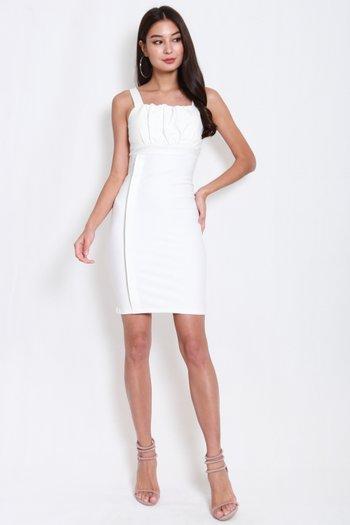 *Premium* Side Panel Ruch Midi Dress (White)