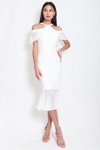 *Premium* Off Shoulder Mermaid Midi Dress (White)