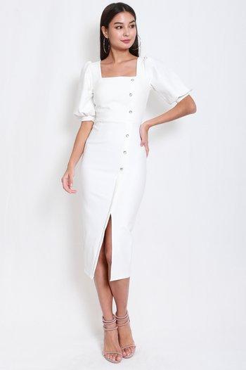 *Premium* Balloon Sleeve Midi Dress (White)