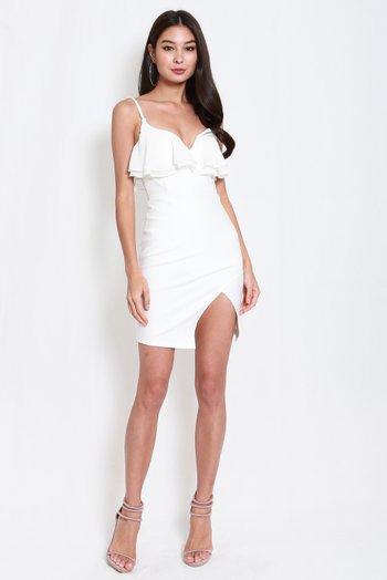 *Premium* Sweetheart Chiffon Slit Dress (White)