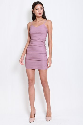 Sweetheart Ruch Bodycon Dress (Lavender)