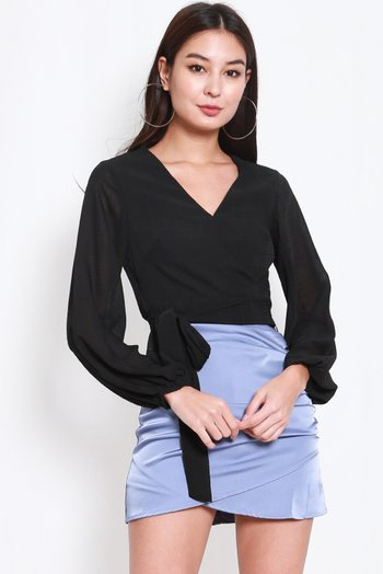 Kara Textured V Wrap Top (Black)