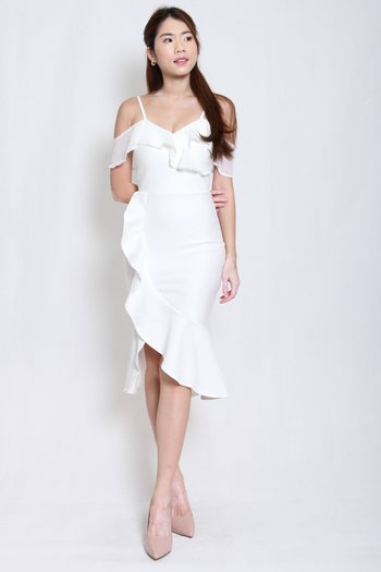 *Premium* Ruffle Off Shoulder Midi Dress (White)