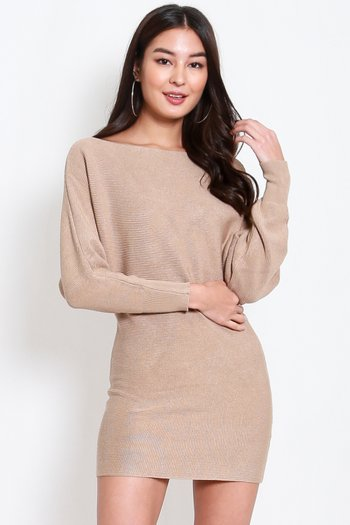 Long Sleeve Knit Dress (Nude)