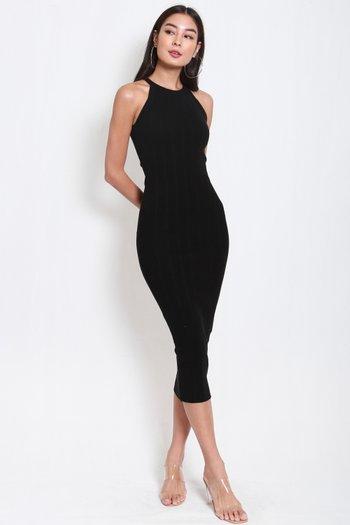 Sora Knit Midaxi Dress (Black)