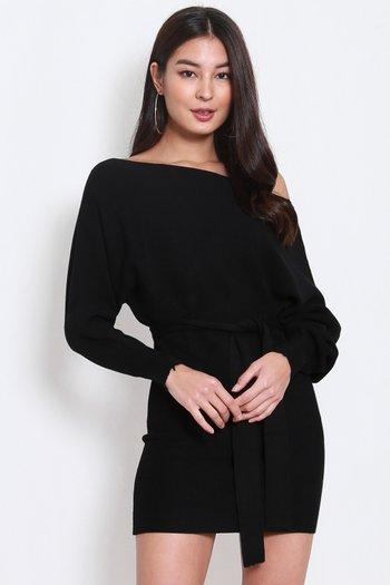 Long Sleeve Knit Dress (Black)