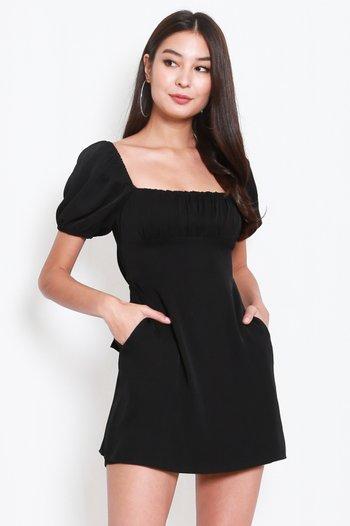 Ribbon Back Square Neck Dress (Black)