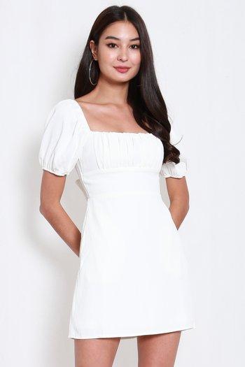 Ribbon Back Square Neck Dress (White)