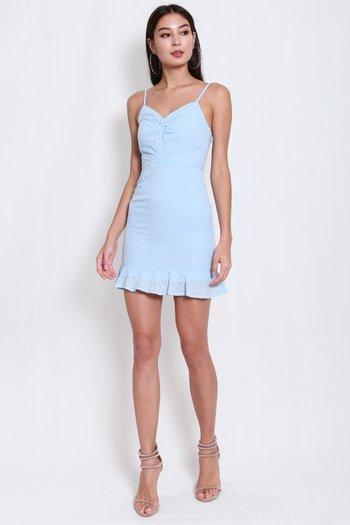 Twist Knot Eyelet Dress (Baby Blue)