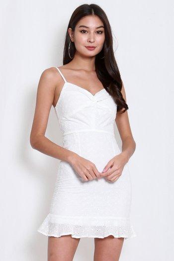 Twist Knot Eyelet Dress (White)