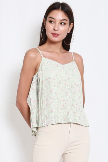 Romantic Floral Pleat Top (Mint Green)