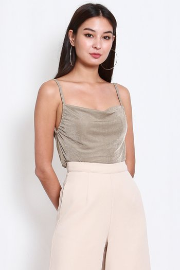 Erica Cowl Neck Top (Taupe)