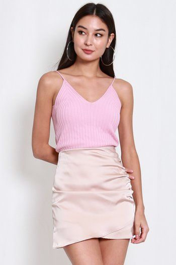 V Neck Knit Top (Pink)