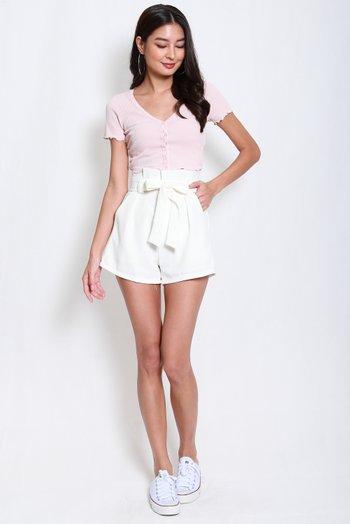 Paperbag Shorts (White)
