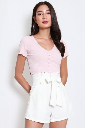 Buttons Ribbed Top (Pink)