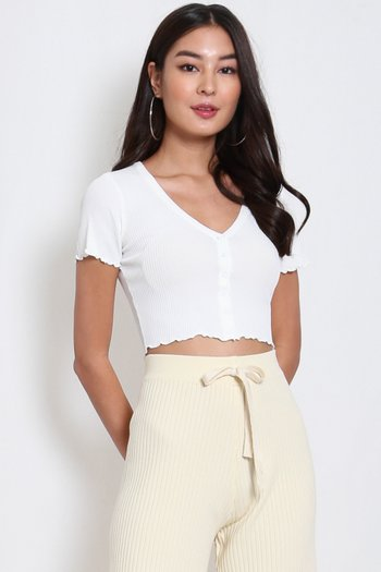 Buttons Ribbed Top (White)