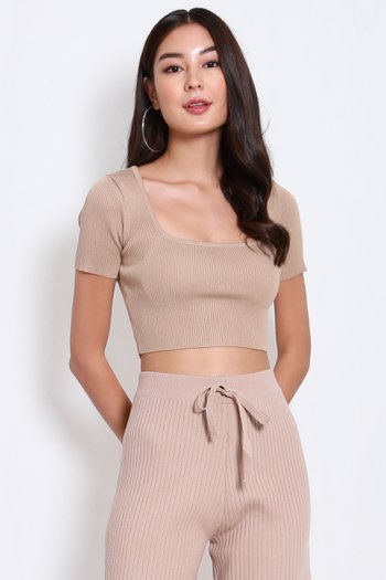 Square Neck Knit Top (Nude)
