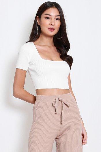 Square Neck Knit Top (White)