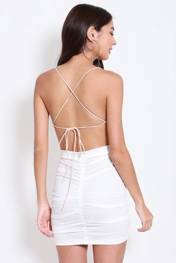 Cowl Neck Cross Back Top (Champagne)