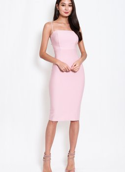 *Luxe* Classic Midi Spag Dress V2 (Sweet Pink)