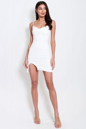 Reena Mesh Slit Dress (White)