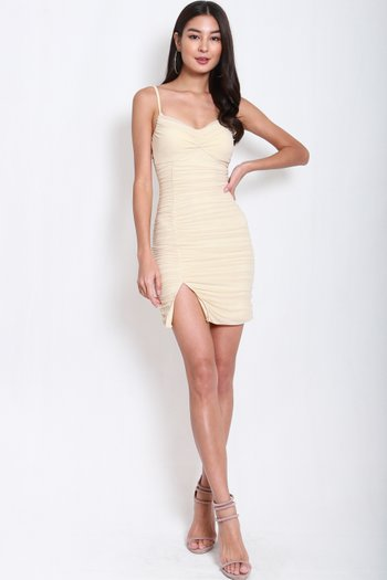 Reena Mesh Slit Dress (Nude)
