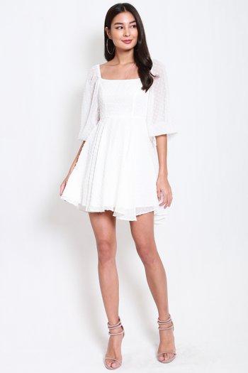 Swiss Dot Babydoll Dress (White)