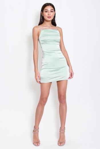 Lola Satin Dress (Mint Green)