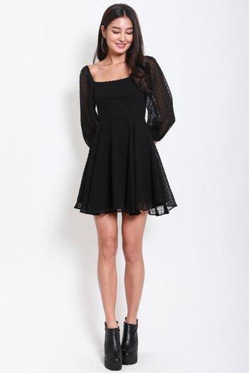 Swiss Dot Babydoll Dress (Black)