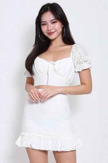 Rosanne Eyelet 2pcs Set (White)