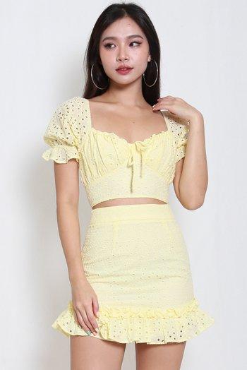 Rosanne Eyelet 2pcs Set (Yellow)