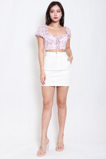 Wyonna Fitted Denim Skirt (White)