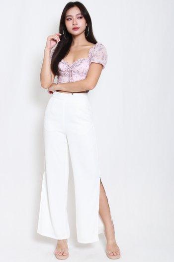 Flowy Side Slit Pants (White)