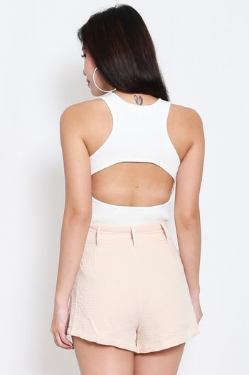 Open Back Knit Top (White)