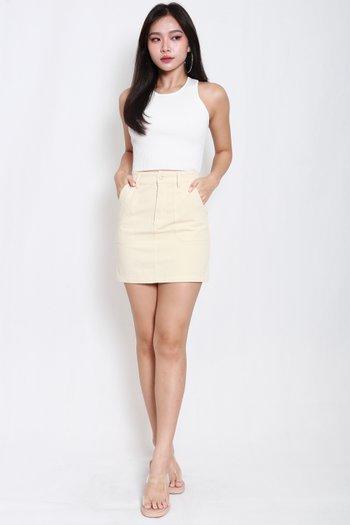 Wyonna Fitted Denim Skirt (Ecru)