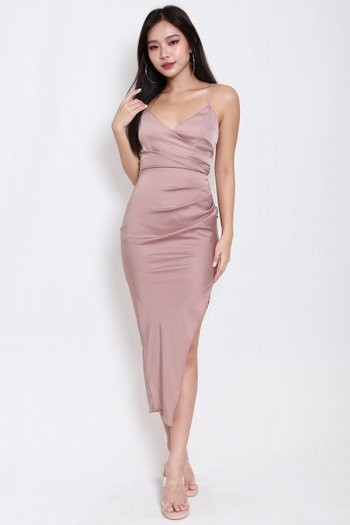 Satin Asymmetrical Overlap Dress (Mauve)