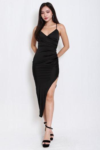 Satin Asymmetrical Overlap Dress (Black)