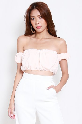 Puffy Off Shoulder Top (Baby Pink)