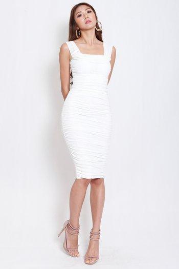 3way Mesh Midi Dress (White)