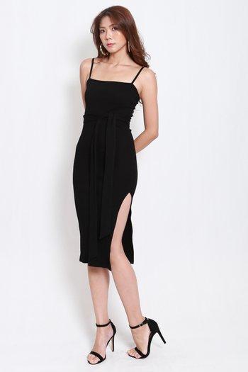 Classic Ribbed Midi Dress (Black)