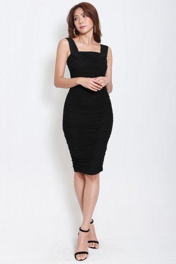 3way Mesh Midi Dress (Black)
