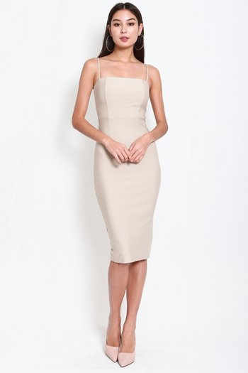*Luxe* Classic Midi Spag Dress V2 (Sand Nude)