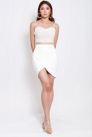 Una Overlap Ruch Skirt (White)